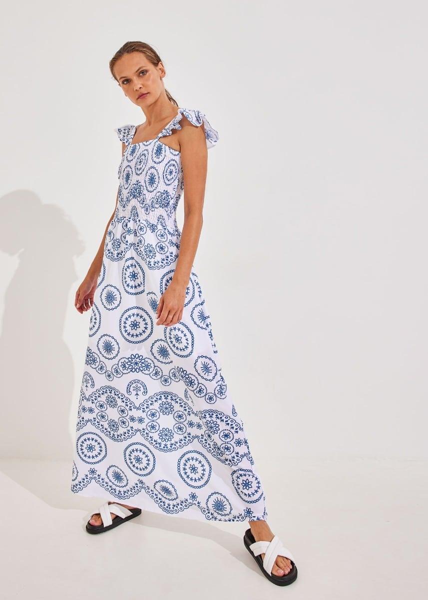 Φόρεμα μακρύ με boho σχέδιο - Λευκό