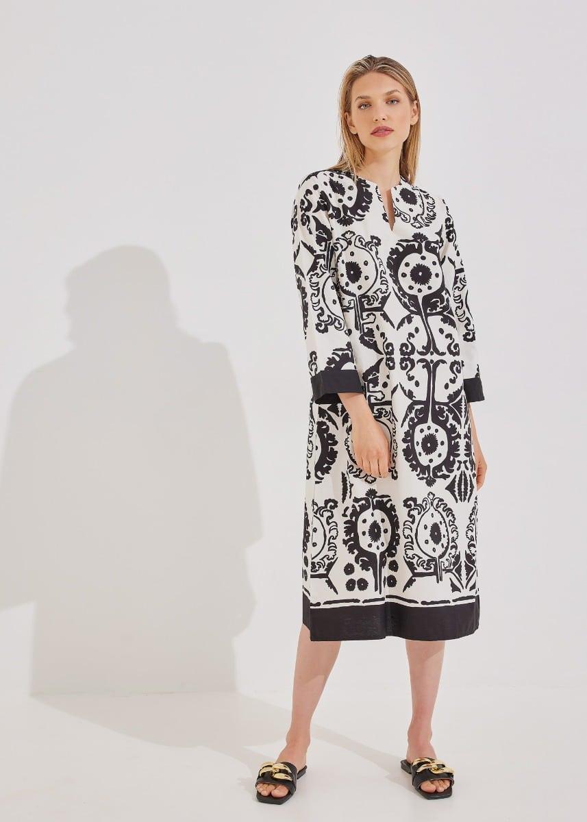 Φόρεμα σε boho μοτίβο - Μαύρο