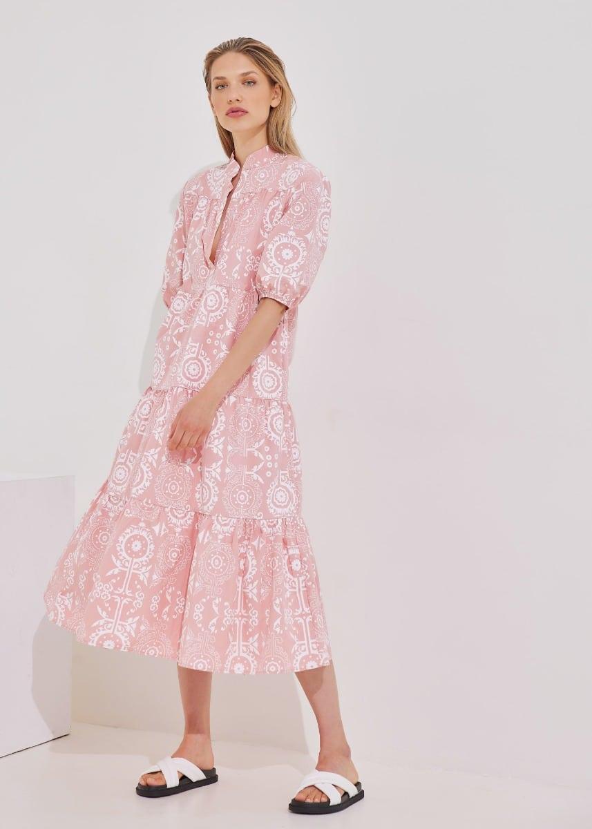 Φόρεμα boho σε ξεχωριστά τμήματα - Dusty Pink